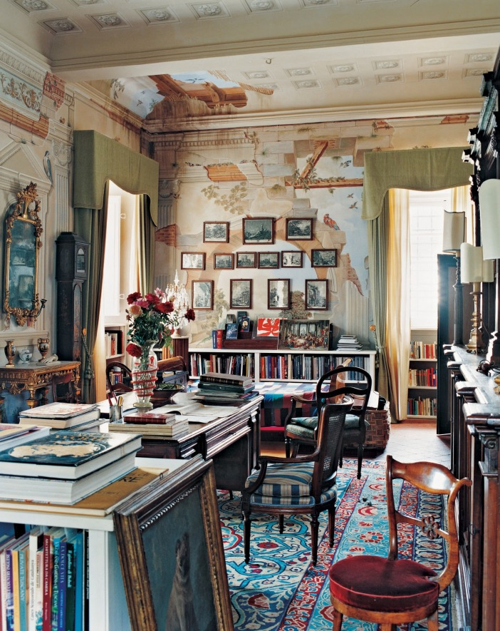 extraordinary-wall-mural-in-study-room-using-bohemian-interior-design-with-tidy-bookshelves-and-oak-desk